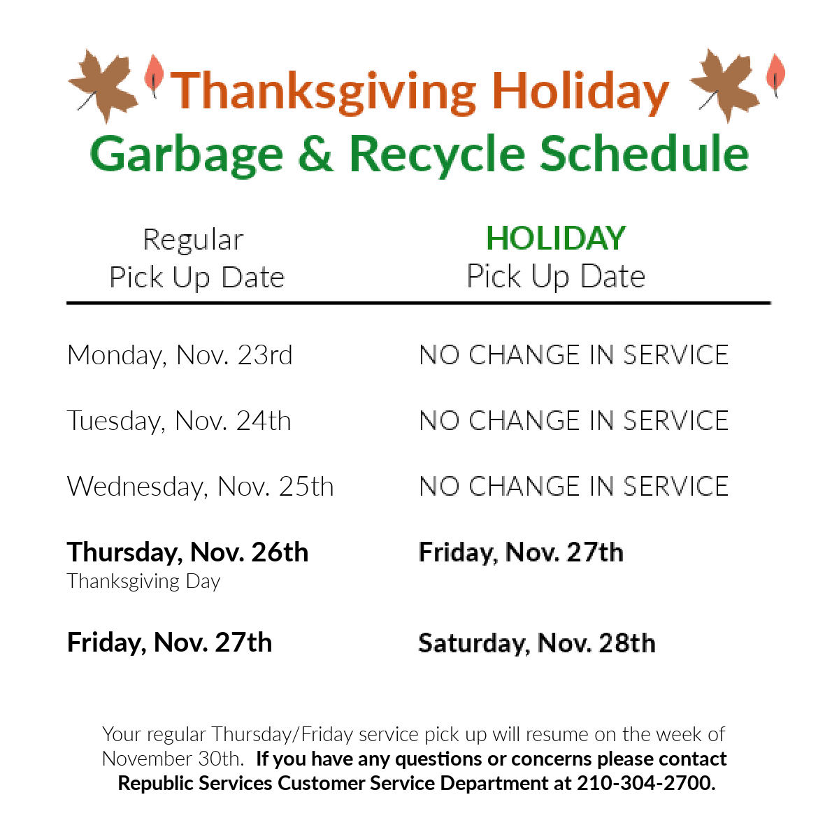 Thanksgiving Garbage and Recycle